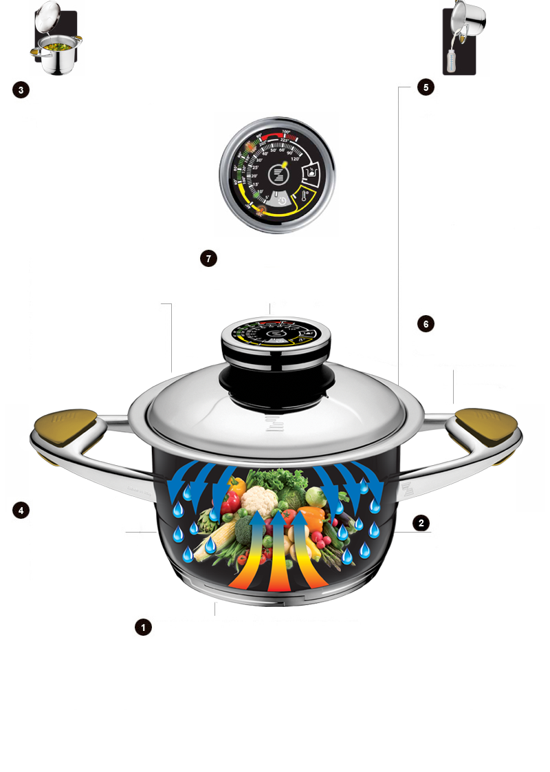 A PROPER AND EVERLASTING WAY TO PREPARE HEALTHY FOOD FOR A LONGER AND HEALTHY LIFE, ZEPTER - TECHNOLOGY AND DESIGN COOKING WITH WATER (WHEN NECESSARY), BUT ESSENTIALLY WITHOUT WATER FRYING WITHOUT FATS BUT ALWAYS, AT LOWER TEMPERATURES TO SAVE FOOD'S NUTRITIVE AND BIOLOGICAL VALUES AND ORGANOLEPTIC PROPERTIES